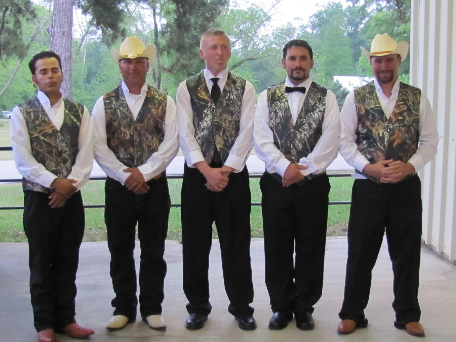 Now Lets Have A Look Athe Groom And His Groomsmen Sporting Their Mossy Oak Vest Cowboy Hats Boots The Ties Are Mostly Removed By Time This Pic