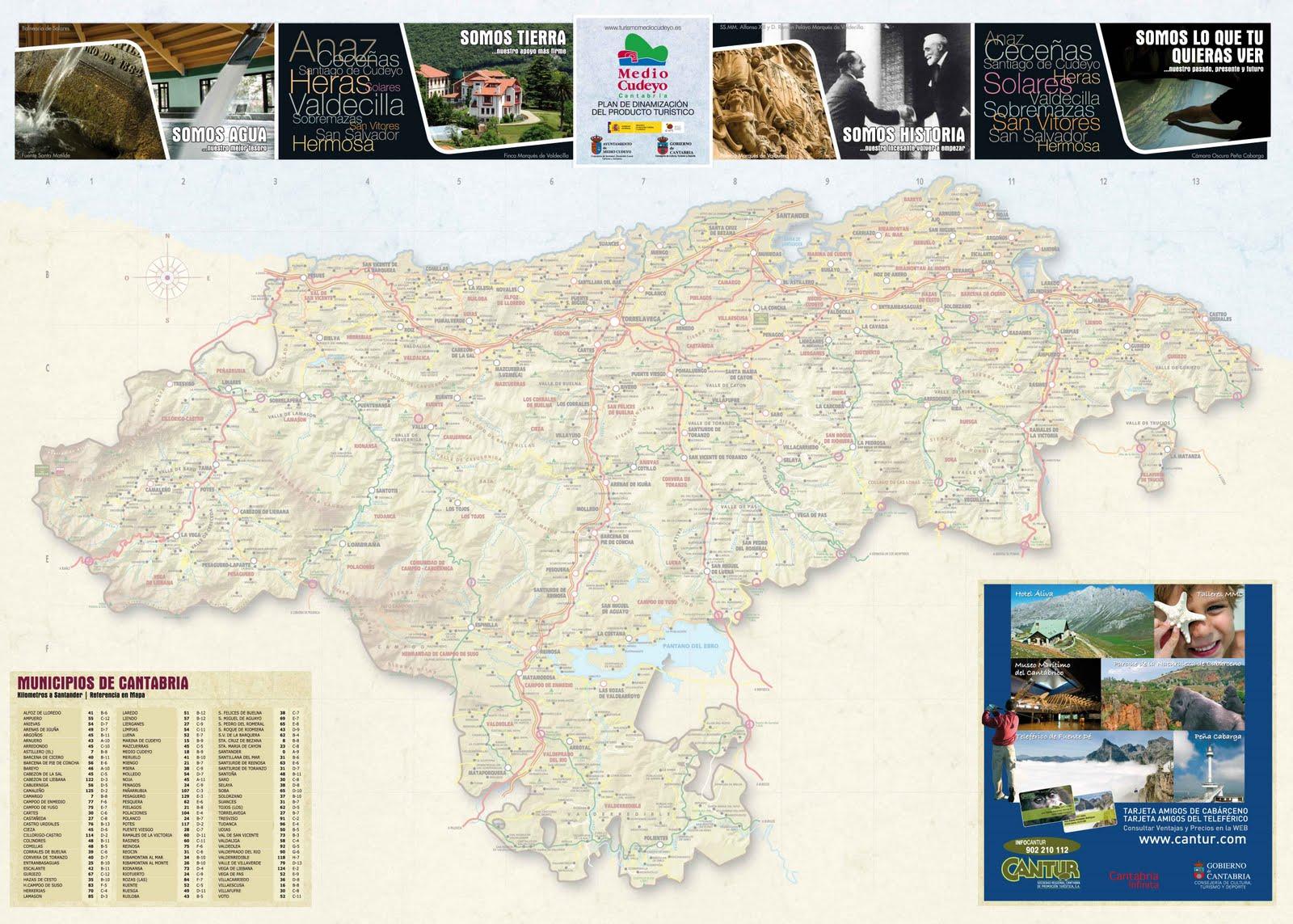 Guia de verano mapa de cantabria for Oficina ola santander
