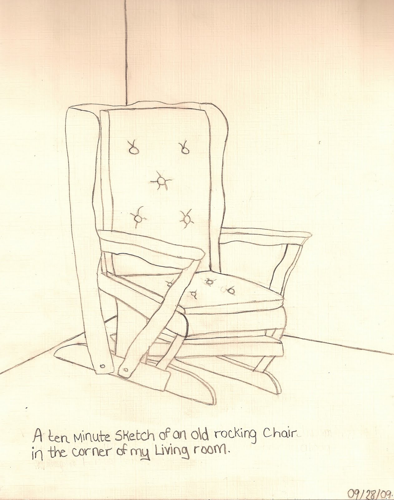 A Ten Minute Sketch Of An Old Rocking Chair In The Corner My Living RoomLC