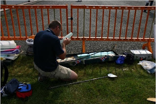 Alan setting up his models