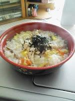 朝食は五穀ごはんの鶏雑炊の巻。