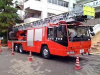 越谷市・大袋地区合同総合防災訓練のはしご消防車。