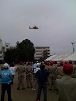 越谷市・大袋地区合同総合防災訓練のヘリコプター。