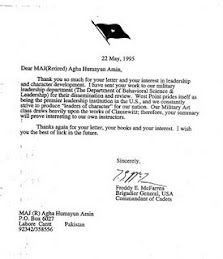 LETTER FROM COMMANDANT US MILITARY ACADEMY WEST POINT-1995-CLICK ON TOP TO READ
