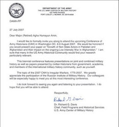 INVITATION FROM US ARMY CENTER OF MILITARY HISTORY TO A.H AMIN