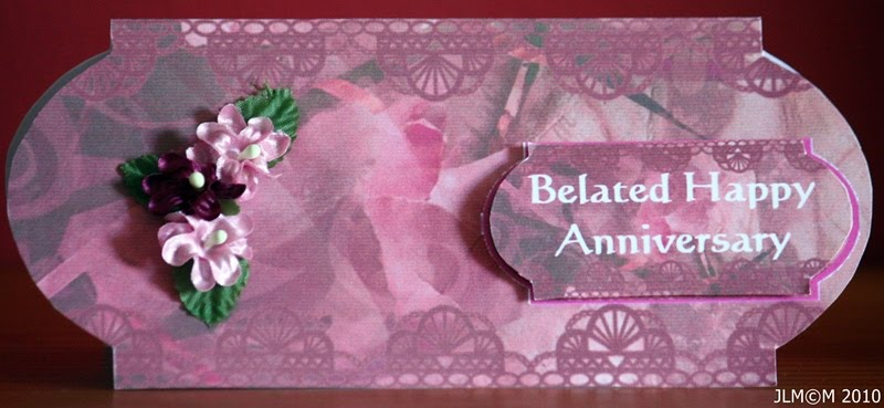 Janes crafty creations belated anniversary card made using the new mcs tattered lace cds it is a tag that i used copied and pasted and also reduced the same one to use as a greeting m4hsunfo
