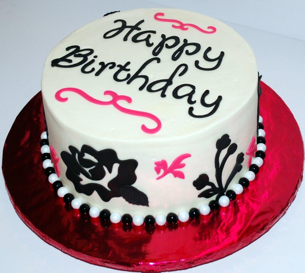 Photos Of White Birthday Cake : The Bakery Next Door: Black White Pink Floral Birthday Cake