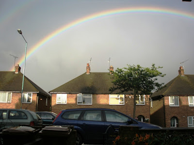 Monday night arriving home like a drowned rat ... black skies but eventually a rainbow