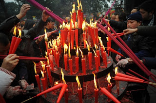 chinese new year night candle light cards