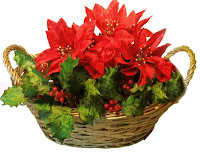 Christmas Poinsettias Flower Basket