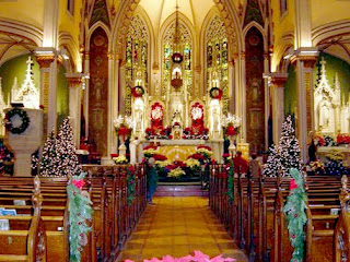 christmas decorations in church