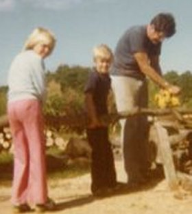 Julie, John and Dad, Work, 1977