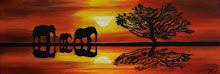 Trekkende Olifanten in avondrood (Acryl op doek) 2010