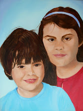 Mijn kleinkinderen Sophie en Beau (Olie acryl)