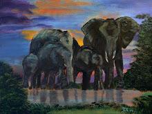 Olifantenfamilie bij drinkplaats (Acryl op doek)