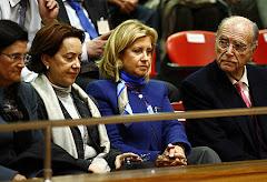 María Jesús Sainz en la tribuna de invitados del Parlamento Gallego