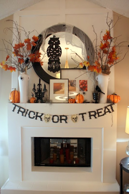 blended fall halloween mantel - Halloween Mantel Decor