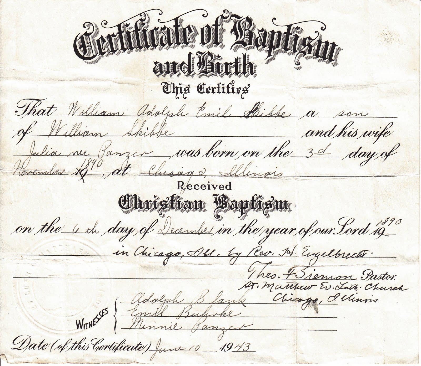 Treasure chest thursday certificate of baptism william skibbe xflitez Images