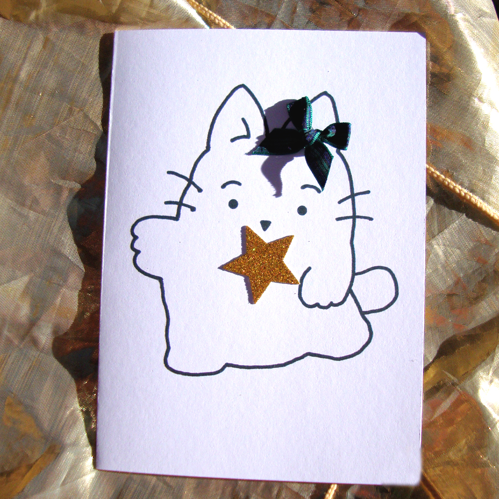 Ziggy and friends kirsty cat christmas cards with gold sparkle kirsty cat gets the gold star treatment for the new range of christmas cards theres 4 types of star cards to choose from kirsty cat has treated herself kristyandbryce Gallery