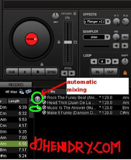 set automatic mixing in virtualDJ software