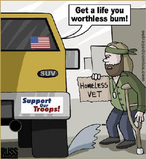 military turned liberal conservatives yellow magnets car push shove homeless