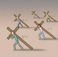 Si alguno quiere venir en pos de mi, nieguese a si mismo, y tome su cruz, y sígame.