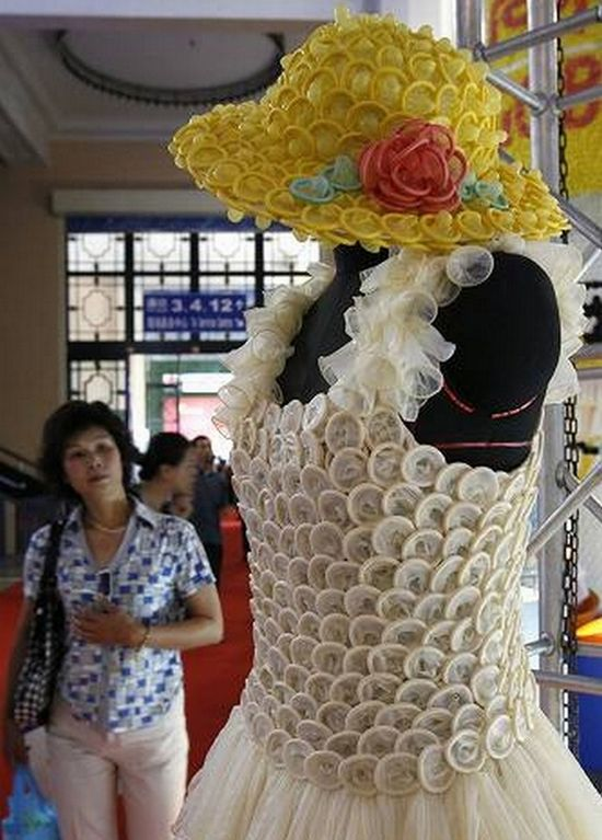 Weird Wedding Dress Made Out of Condoms