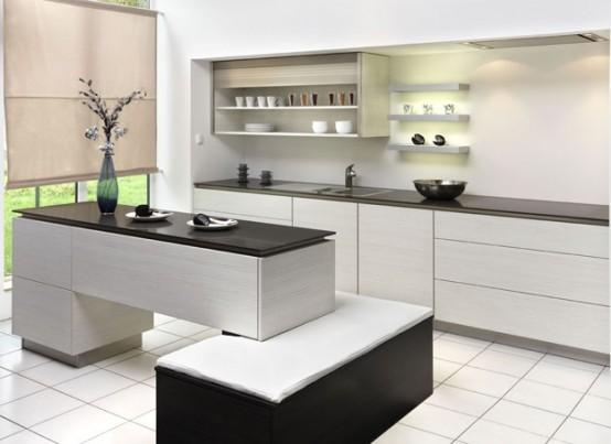 revista populares: Modernas cocinas en blanco y negro