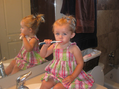 Mom and Courts morning routine. Hair  & teeth time!