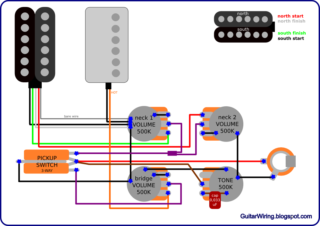 gibsonfender the guitar wiring blog diagrams and tips gibson meets fender gibson sg custom 3 pickup wiring diagram at gsmx.co