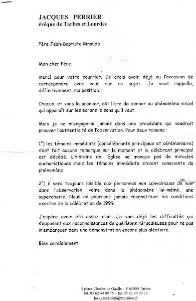 DOCUMENT 10 : Courrier de Mgr Perrier adressé au Père Rinaudo