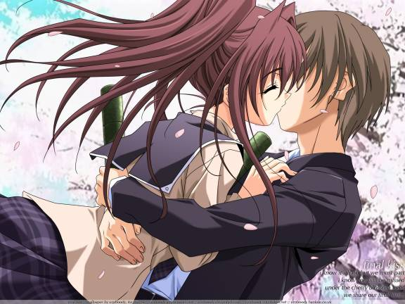 cute anime couples kiss. cute anime couples kiss.