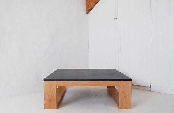 Square slate oak coffee table