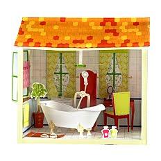 Бумажные домики для кукол.  В наборе 8 домиков кафе, детская.