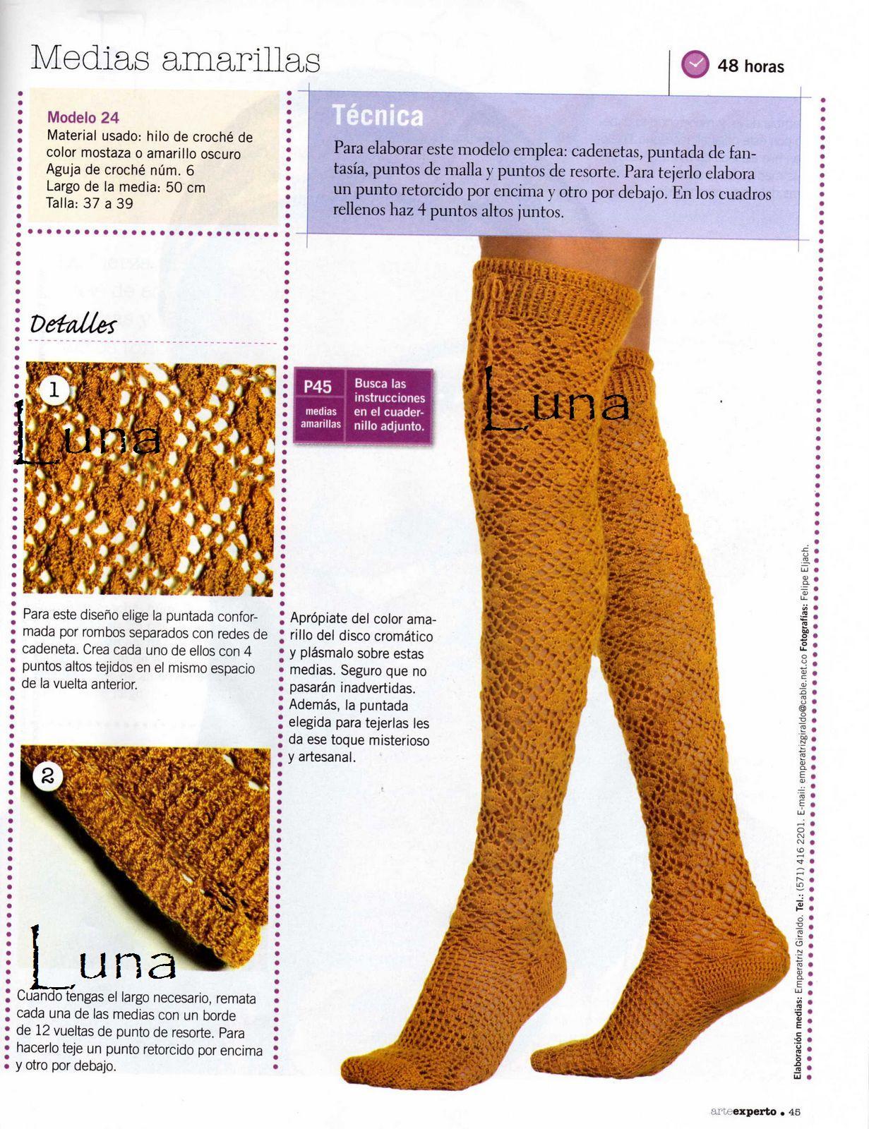 Medias o Calcetines Tejidos a Crochet.
