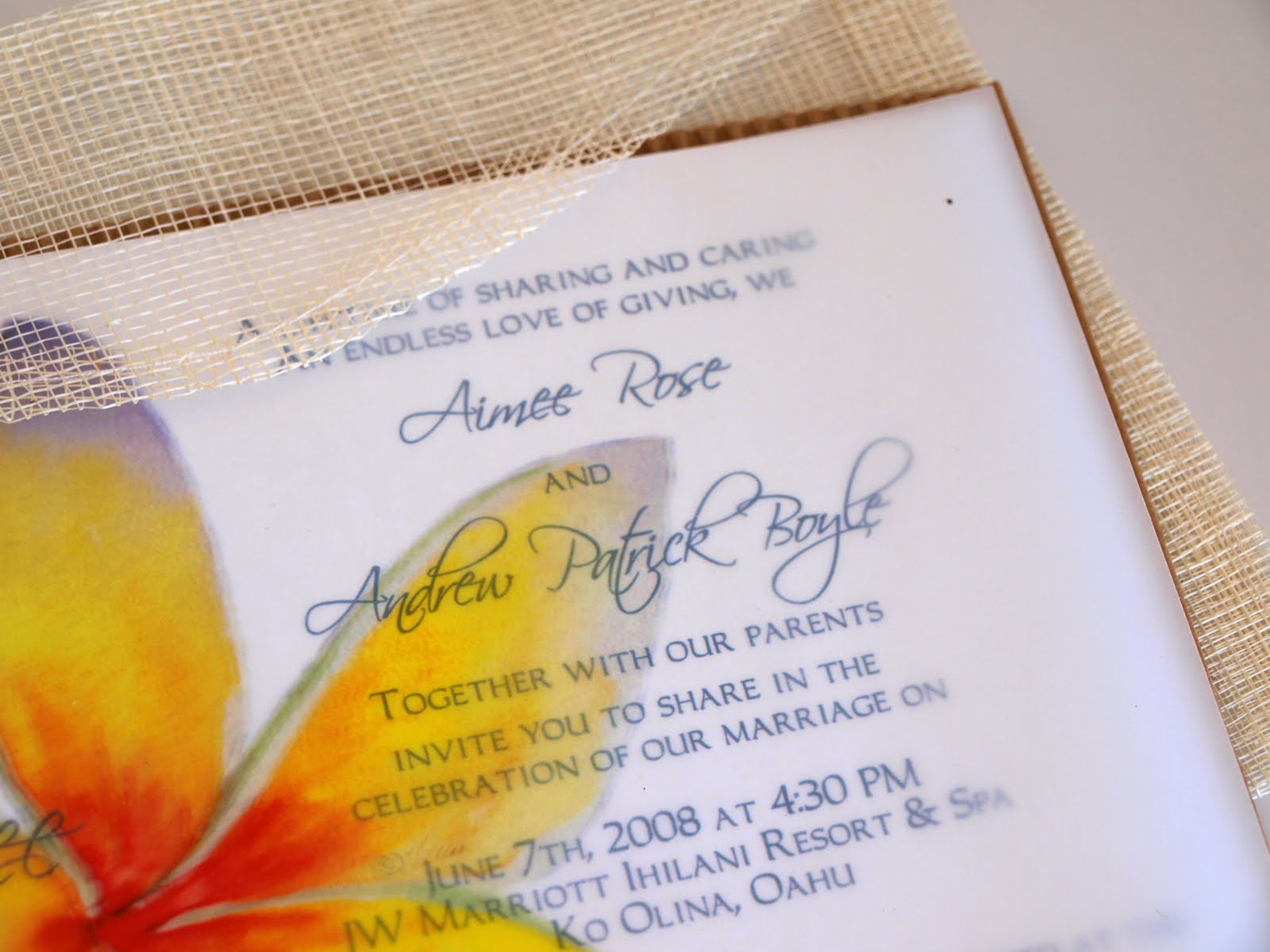 Eco-Friendly Market: Hawaiian Wedding Invitation with Sinamay Envelope