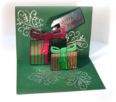 The presents and tag were printed onto silver metallic adhesive foil.