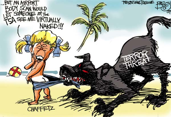 CONSERVATIVE POLITICAL CARTOONS, Naked Terror Threat  Right Wing Humor