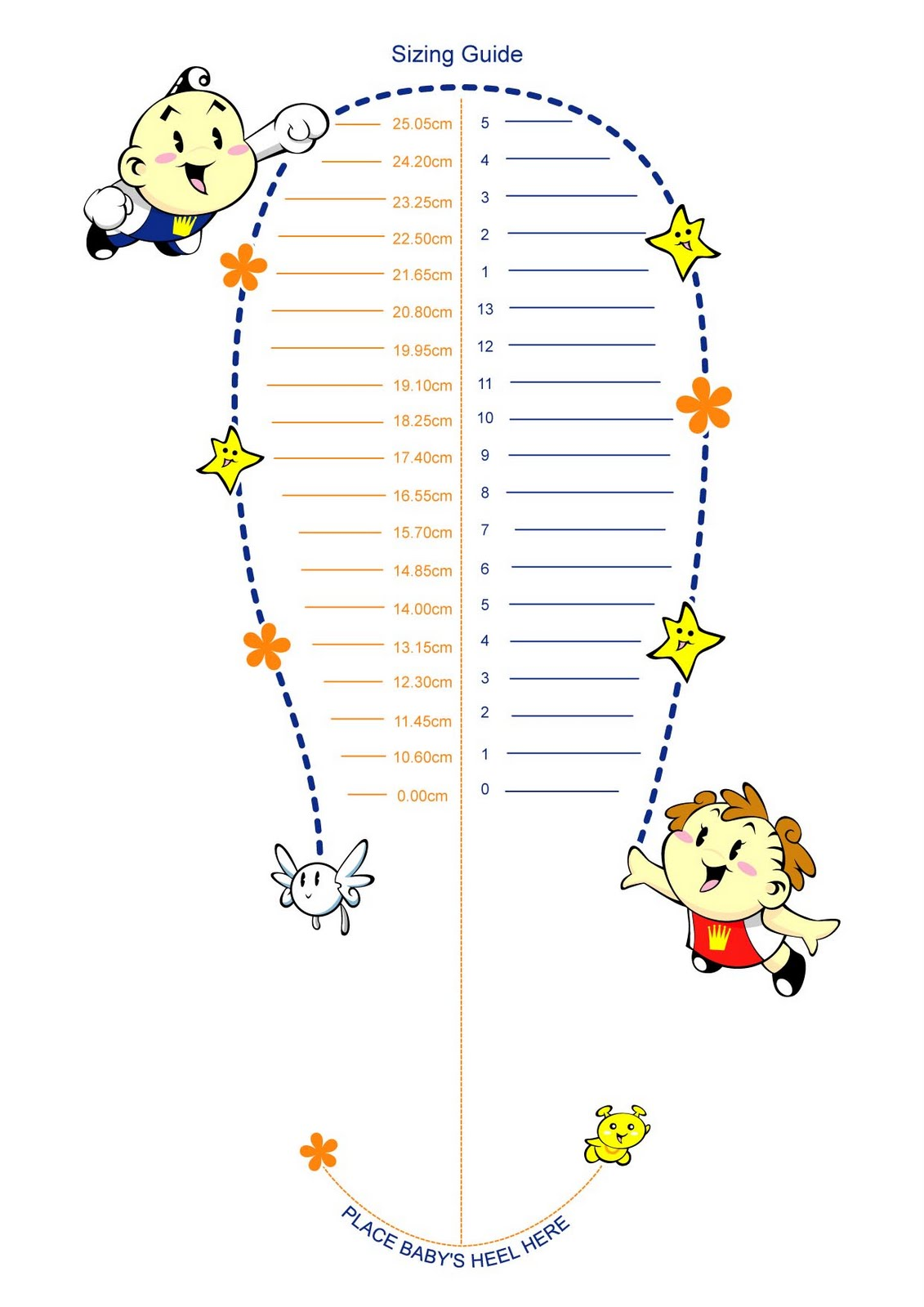 HD Image Of Printable Shoe Size Chart For Infants Toddler Shoe Size Chart