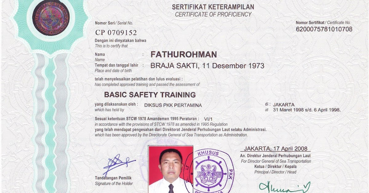 cv fathurohman  basic safety training