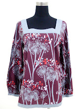 A 1109 - Maroon flower blouse,can fit size S,M,L