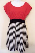 A 1147 - Pink stripe dress, free size (fits size S,M)