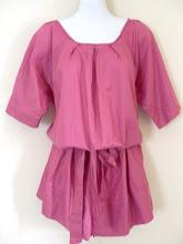 A 1157 - Pink top w/belt, free size (can fit size S,M,L,XL)