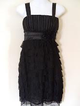 A 1190 - Black ruffle dress, fits size S,M