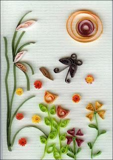 пейзаж в технике квиллинг: трава, цветы, солнышко, бабочка