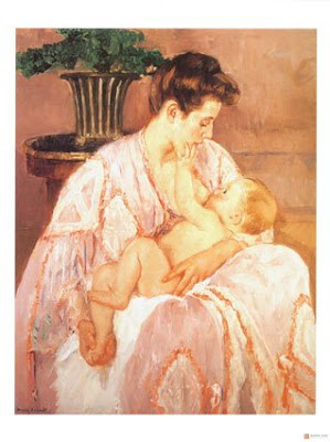 Mary Cassatt breastfeeding Mother and Child painting