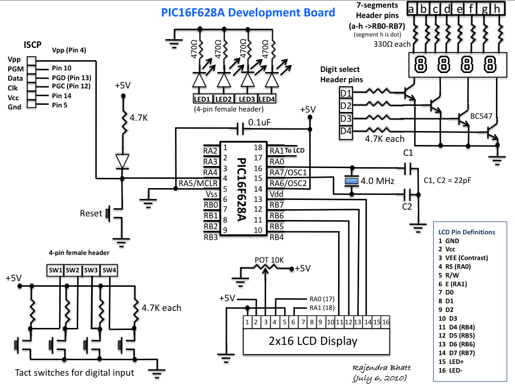 pic16f628a development board