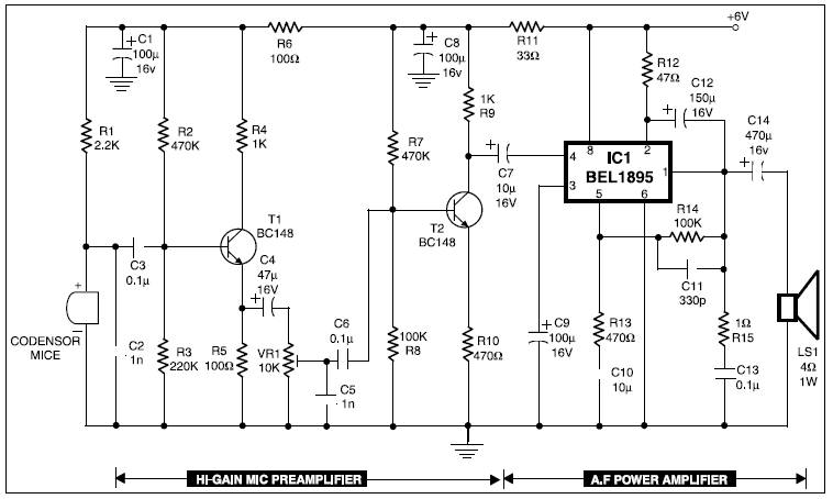 Audio Amplifier For Condenser Mic