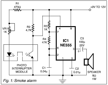 All electronics smoke alarm project using 555 timer ic the presence of smoke interrupts the signal to the photodiode which in turn activates the 555 timer ic to generate alarm the timer ic is configured as an publicscrutiny Choice Image