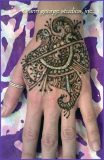 gilded henna tattoo for the back of the hand